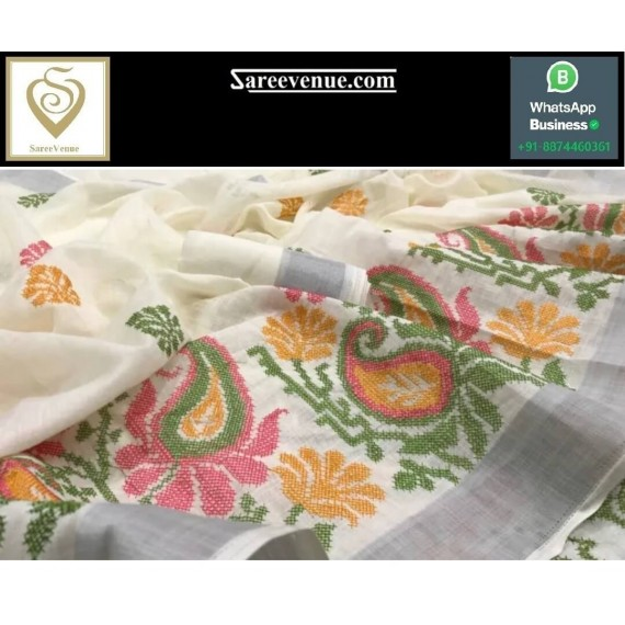 Pure Linen Embroidery Work Saree