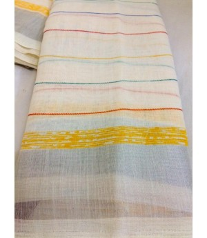 Pure Linen Handloom Saree With All Over Weaved Colorful Stripes