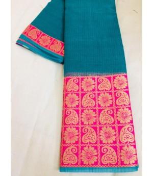 Cotton Kota Plain Saree With Wide Gold Zari Brocade On Pink Satin