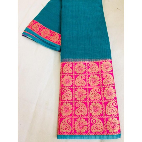 Cotton Kota Plain Saree With Wide Gold Zari Brocade On Pink Satin