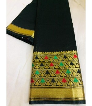 Cotton Silk Plain Saree With Gold Zari Brocade