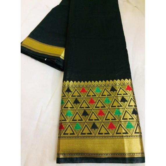 Cotton Silk Plain Saree With Gold Zari Brocade
