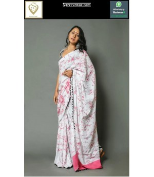 Pure Cotton Printed Saree With Tassels On Brocade
