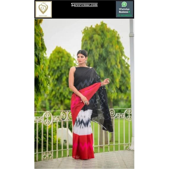 Pure Cotton Printed Saree With Zig Zag Design