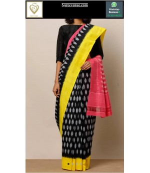Pure Cotton Polka Design Printed Saree