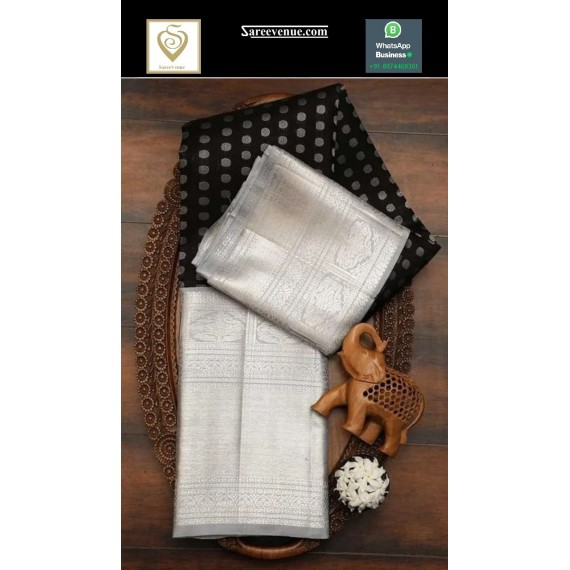 Banarasi Silk Saree All Over Silver Zari Circel Booti Weave With Wide Silver Zari Brocade