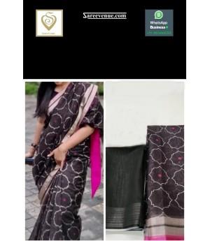 Linen Ultra Fine Soft Fabric Printed Saree