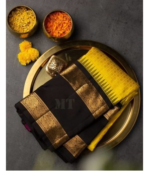 Banarasi Silk Saree All Over Weave With Gold Zari Brocade On Black Satin