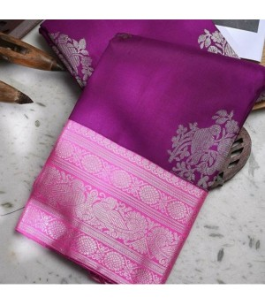 Banarasi Silk Saree All Over Silver Zari Weave With Silver Zari Brocade