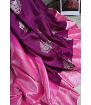 Banarasi Silk Saree All Over Silver Zari Weave With Silver Zari Brocade