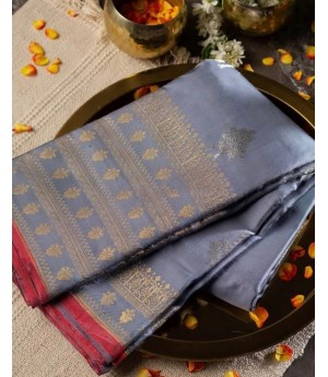 Banarasi Silk Saree All Over Silver Zari Boota Weave With Gold Zari Brocade