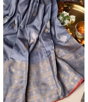 Banarasi Silk Saree All Over Silver Zari Boota Weave With Gold Zari Brocade