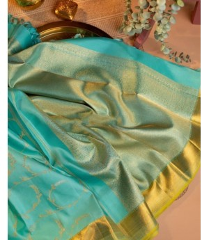 Banarasi Silk Saree All Over Gold Zari Weave With Plain Gold Zari Brocade